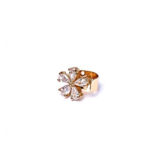 Pendientes Ear piercing flor dorada
