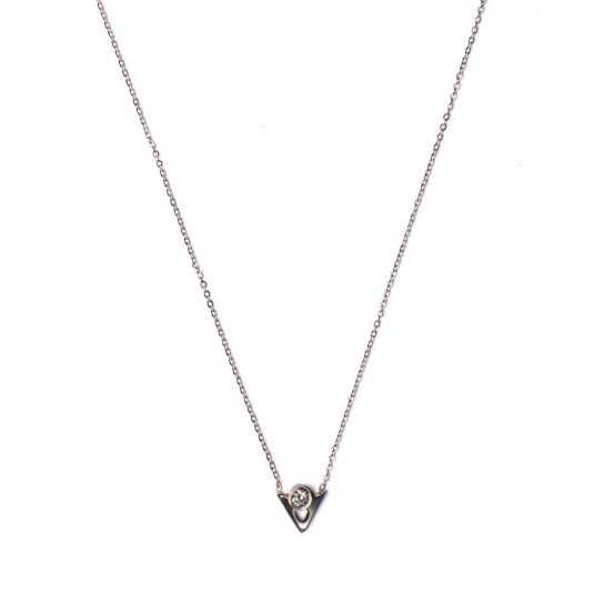 Collar Geométrico triángulo circonita plata