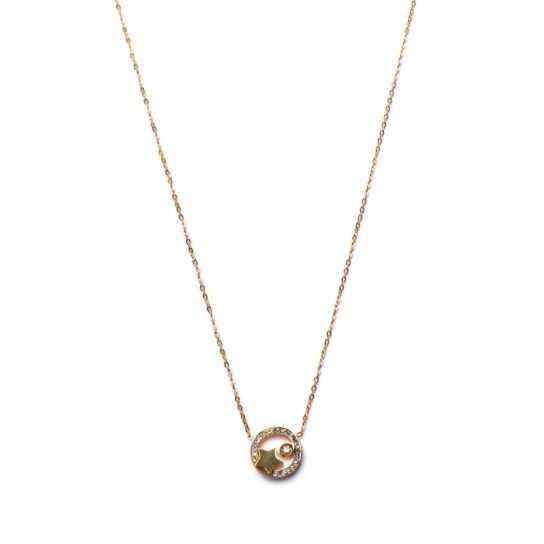 Collar Círculo estrella con circonita dorado